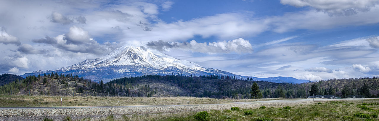 Beauty In Nature Blue Cloud Cloud - Sky Day Grass Growth Idyllic Landscape Landscape_Collection Mountain Mountain Range Mt Shasta Nature . Fine Art PhotographyOutdoors Remote Rural Scene Scenics Sky Snowcapped Mountain Tranquil Scene Tranquility Volcano