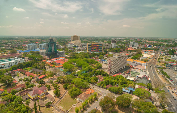 KEDAH, Malaysia - 23rd February 2018 : Downtown aerial view of Alor Setar town from top of 'Menara Alor Setar' tallest communication tower in world during sunny day. (motion soft focus noise grain) DarulAmanLand Financial District  Menara Alor Setar Road Sunny Alor Setar Aman Sentral Architecture Building Exterior Built Structure Business Finance And Industry City Cityscape Communication Day Downtown District High Angle View Hotel Kedah Kedah Medical Centre Outdoors Parkson Sky Tower Uptown