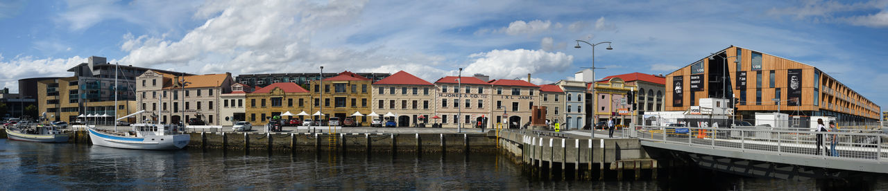 Jan 2017 - Pan of Hunter Street, Hobart, Tasmania City Center Franklin Wharf Hunter St Inlet Sullivans Cove University Of Tasmania Clouds & Sky Deck Boats Early 20th Century Architecture Panoramic Photography Sail Boats Tourist Destination Waterfront Wharf