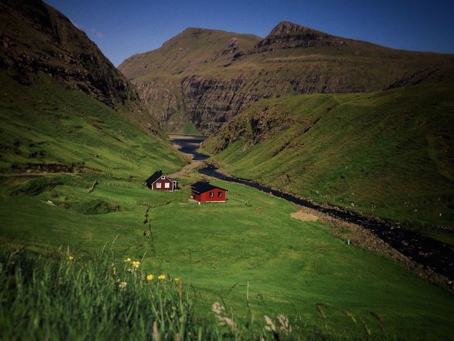 Faroe Islands Green Grass Houses