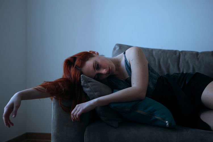 Adult Beauty Bedroom Blue Conceptual Day Daylight Indoors  Lying Down Model One Person One Young Woman Only People Poem Portrait Portrait Of A Woman Portrait Photography Redhair Sensual_woman Sleeping Woman TCPM