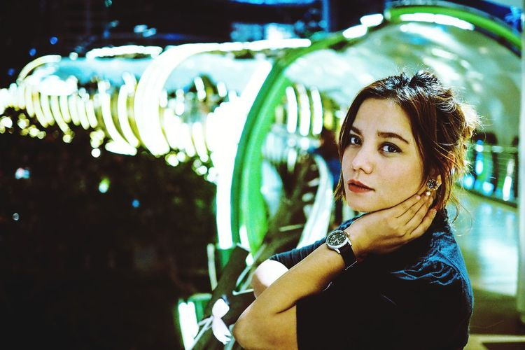The Portraitist - 2019 EyeEm Awards Young Women Portrait Illuminated Beautiful Woman Futuristic Thoughtful Thinking Pretty Asian  Head And Shoulders Attractive Beautiful