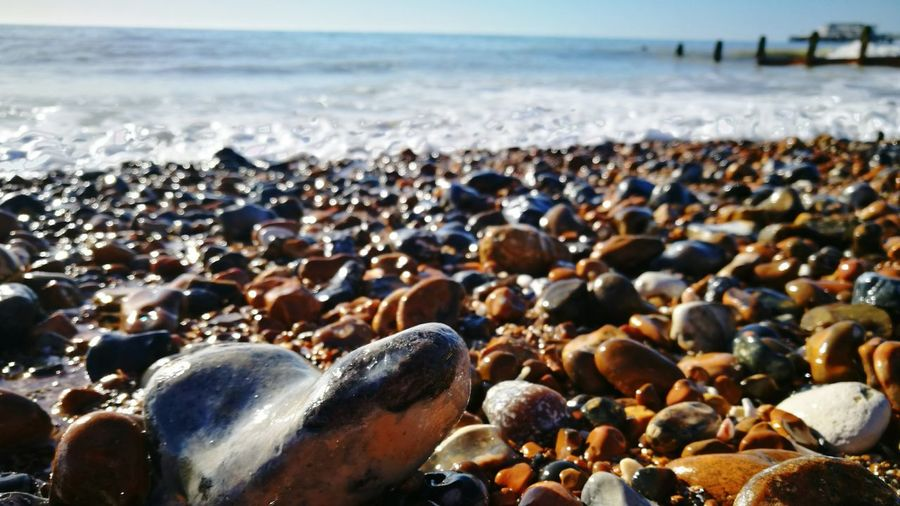 Close-up of pebbles on beach