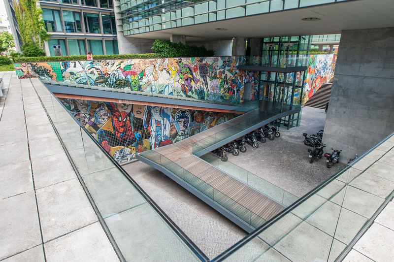 City Multi Colored Street Art Railing Graffiti Architecture Building Exterior Built Structure Steps Staircase Steps And Staircases Footbridge Spiral Stairs Escalator Fire Escape Emergency Exit Stairway Spiral Staircase Moving Down Bannister Hand Rail Stairs Spiral Aerosol Can