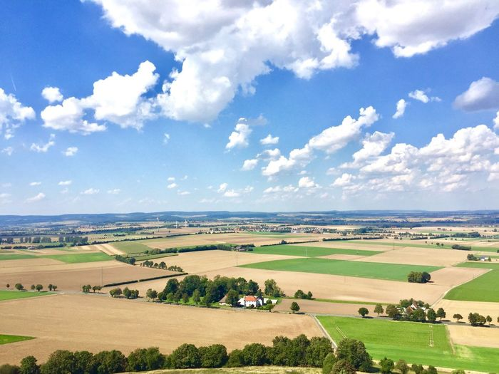 Landscape Sky Tranquil Scene Scenics Tranquility Agriculture High Angle View Beauty In Nature Rural Scene Field Cloud - Sky Nature Day Horizon Over Land Cloud Farm Non-urban Scene Green Color Solitude Aerial View Desenburg