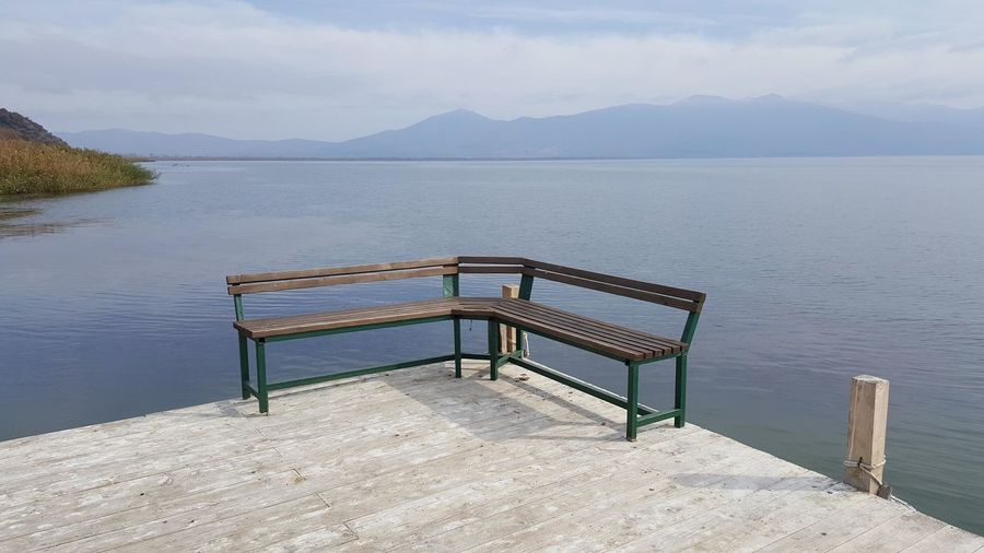 pier on a lake prespa Pier Bench Lake Prespa Macedonia Prespa Lake Balkans Europe Water Mountain Wood - Material Beauty In Nature Seat Tranquility Tranquil Scene Scenics - Nature No People Nature Day Sky Table Idyllic Outdoors