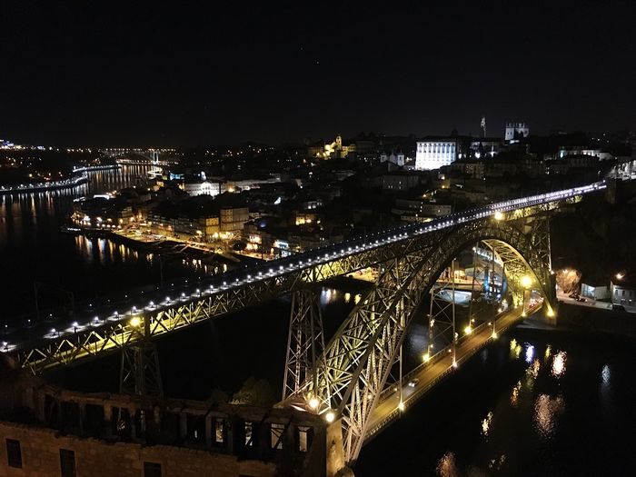 Architecture Bridge - Man Made Structure Connection Built Structure Illuminated Night Transportation City Building Exterior River Sky Chain Bridge Engineering Outdoors No People Cityscape Suspension Bridge Oporto Portugal Frainf