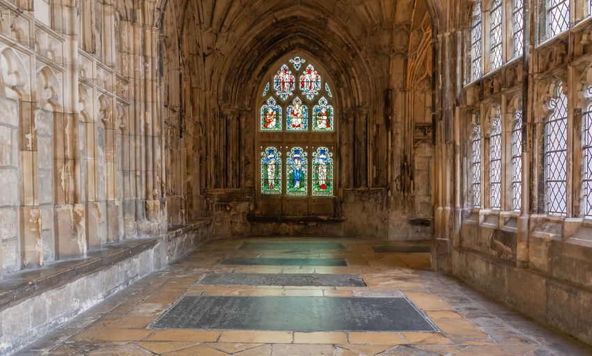2019 Gloucester Gloucester Cathedral June Architecture Indoors  The Past No People Glass Arch Religion Window History Place Of Worship Spirituality Corridor Cloisters  Stained Glass Window
