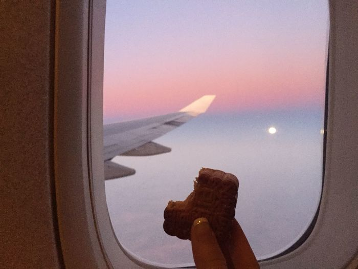 Having mooncake on the plane... Btw, I finally saw the 🌝 at Mid Autumn Festival! Moon Cake Moon Festival