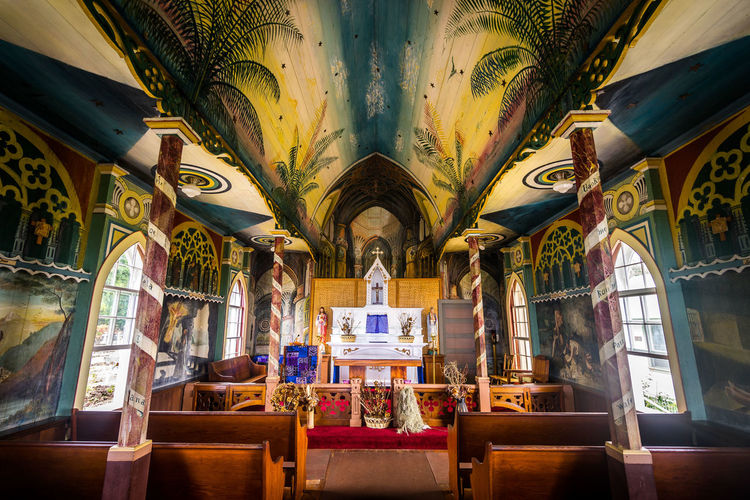 Aisle Altar Architecture Art And Craft Belief Building Built Structure Ceiling Chair Day Empty Indoors  Mural No People Pew Place Of Worship Religion Representation Seat Spirituality