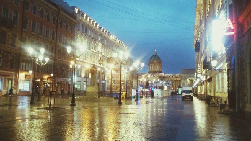 Spb Rain Evening Light City City Lights Architecture Street Enjoying Life