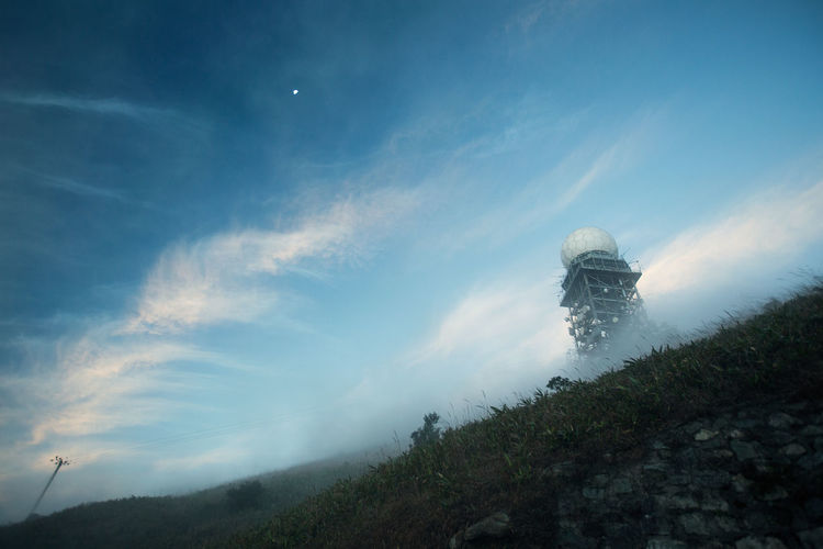 Low Angle Shot Of Water Tower On Landscape