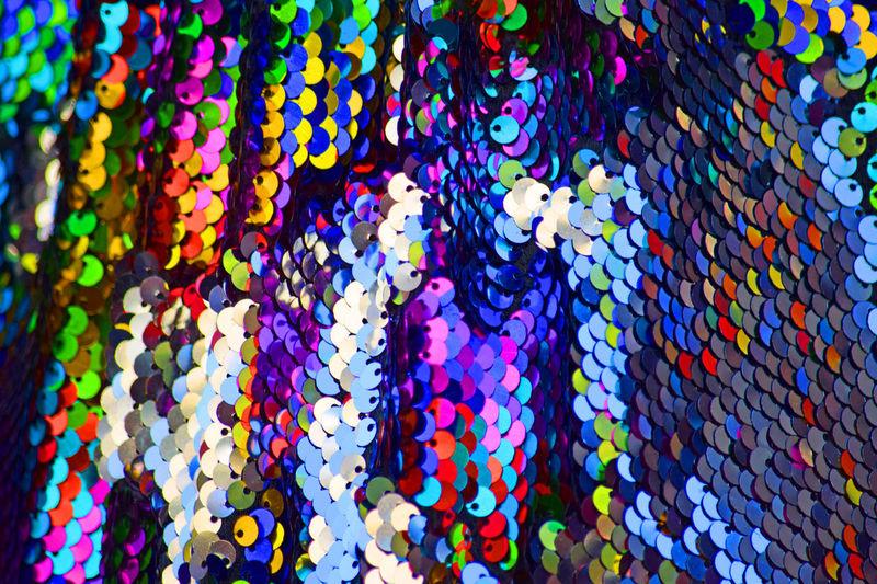 Full frame shot of multi colored umbrellas hanging in market
