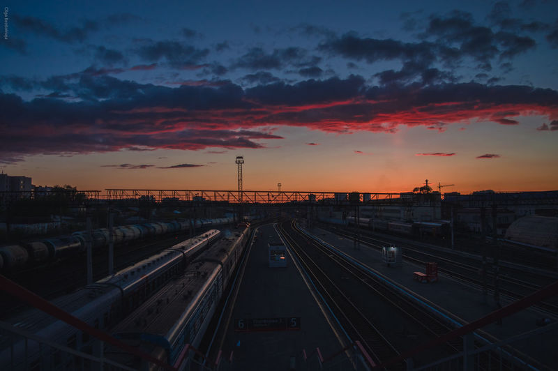 Sunset Railroad Track Dramatic Sky Rail Transportation Railroad Station City Sky Steel Railroad Station Platform No People EyeEm EyeEm Best Shots EyeEm Gallery Day Cloud - Sky Atmospheric Mood Cityscape