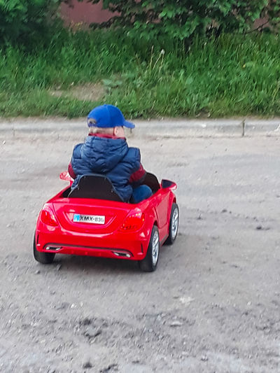 Rear view of boy on car at park