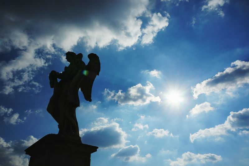 Cloud - Sky Sculpture Statue Sky Rome Castel Sant'Angelo Backlight Sun Angel