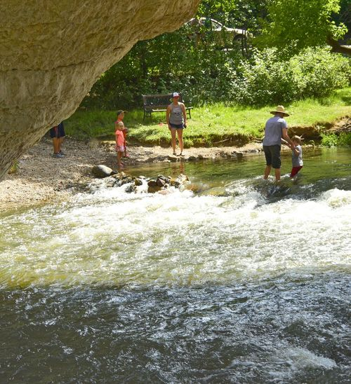Family fun Natural Bridge North Of Douglas Wyoming Afternoon Of Relaxation Wonderful Day Wading In The Water Cooling Down Thousands Of People Visit United States
