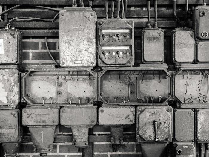 Full frame shot of old abandoned machine part