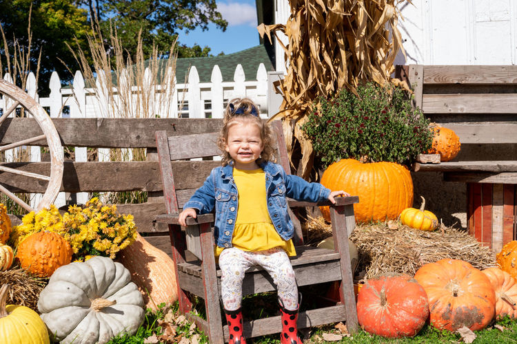 Portrait of smiling girl sitting on chair by pumpkins