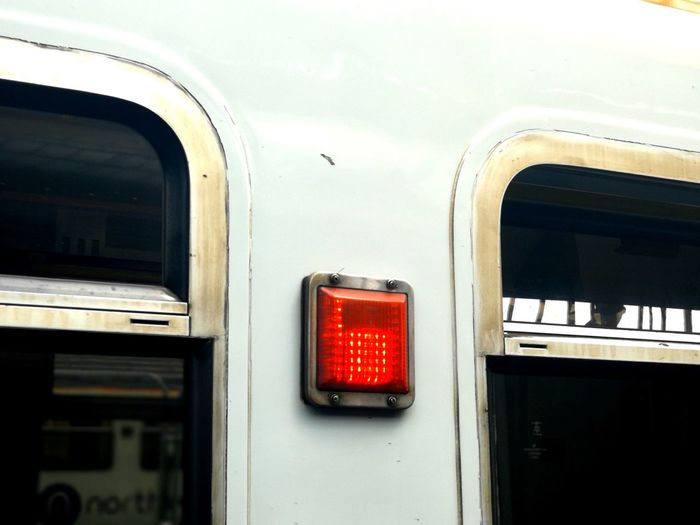 Square Light View Outside Train Red Light Red Subway Train Business Finance And Industry City