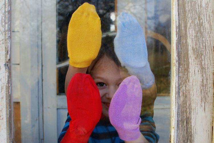 One Person Day Close-up People Human Body Part Kid Boy Childhood Colors Eye Leisure Activity Door Window Socks Red Violet Yellow Blue Family