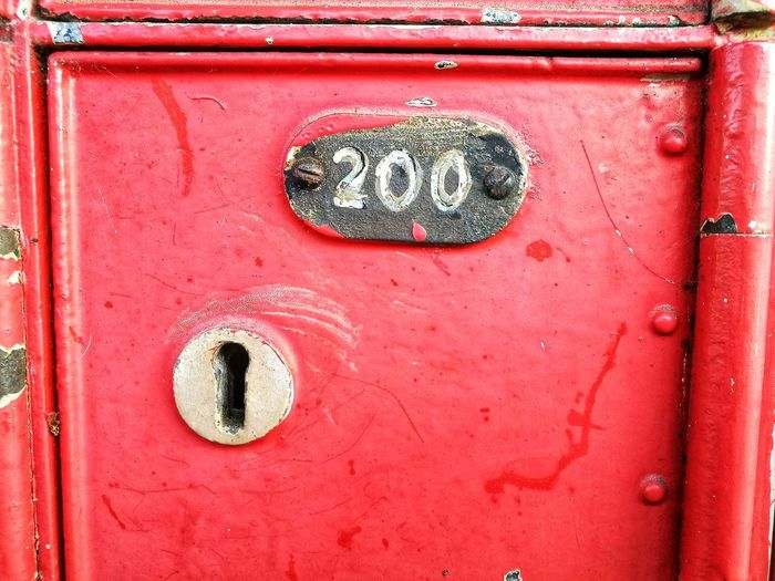 200 Old Post Box  Letter Communication Red Key Safety 200 Number ASIA Metal Close-up Text Day Outdoors Door No People Full Frame
