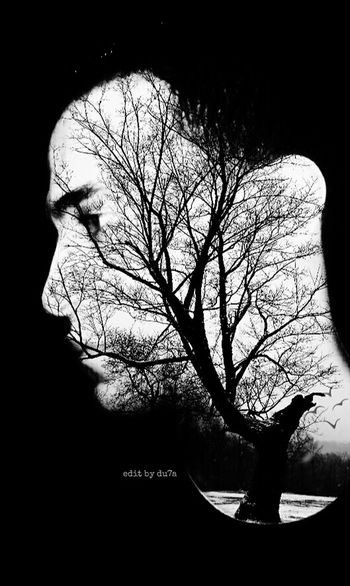 Simple expo to dear artist xdoozer Blackandwhite Exposure Bnw_captures Portrait Antiselfie Mystery Photo Artistic Photo MyEdit Double Exposure People Photooftheday Tree Photoart Silence Bnw Bnwmood