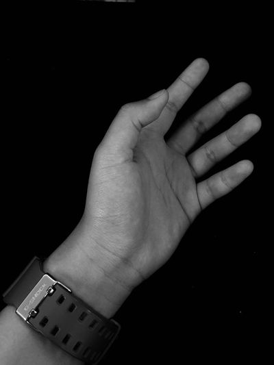 Black space Human Hand Human Body Part Human Finger One Person Black Background Communication Real People People
