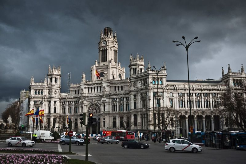 Centro Cibeles Centro Cibeles Madrid Spain Architecture Building Exterior Sky Built Structure Cloud - Sky Travel Destinations Statue Tourism Travel Outdoors History Architectural Column Sculpture Day Low Angle View City No People
