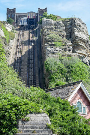 Architecture Building Exterior Built Structure Cable Car Cliff Railway Day Low Angle View Nature No People Outdoors Scenics Sky Tracks Tree Victorian Wooden Coaches