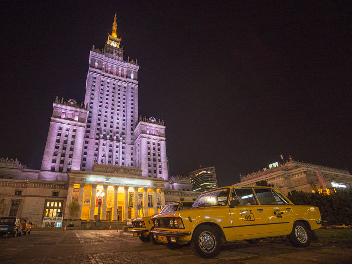Poland Poland Is Beautiful Polska Warsaw Warsaw Poland Warszawa  Architecture Building Exterior Built Structure Car City Illuminated Mode Of Transportation Motor Vehicle Night Office Building Exterior Poland 💗 Sky Skyscraper Tall - High Taxi Tourism Tower Transportation Travel