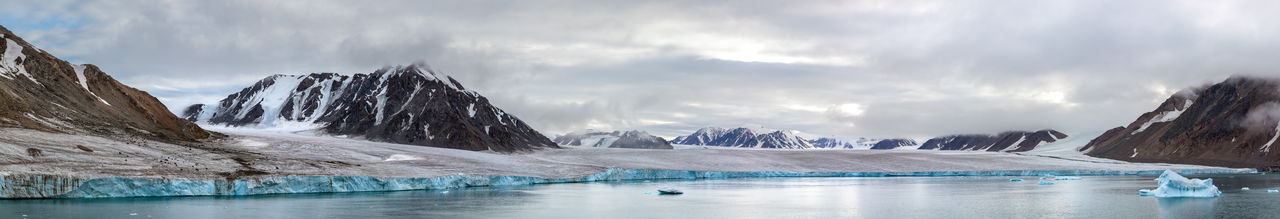 Panorama of a glacier and mountains in ellesmere island, part of the canadian arctic.