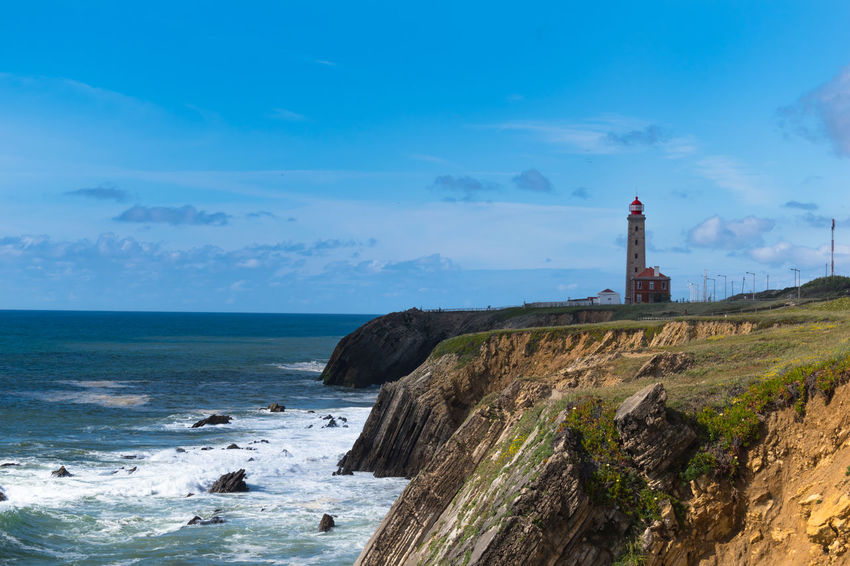 São Pedro de Moel Architecture Beach Beauty In Nature Building Exterior Built Structure Cloud - Sky Guidance Horizon Horizon Over Water Land Lighthouse Nature No People Outdoors Rock Scenics - Nature Sea Sky Solid Tower Water
