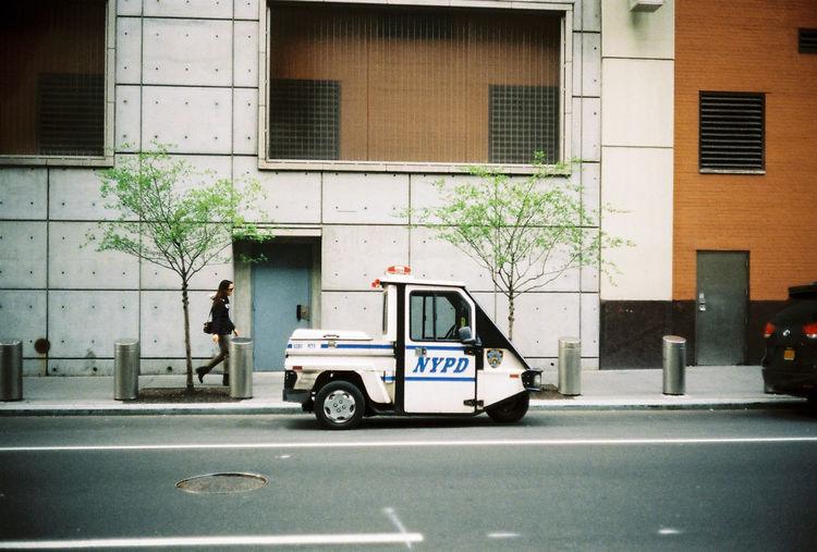 Police car waiting on street