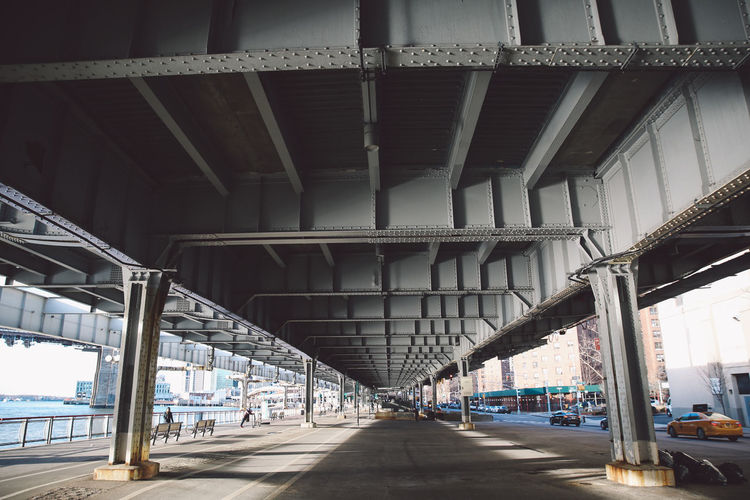Walkway Below Elevated Road In Manhattan