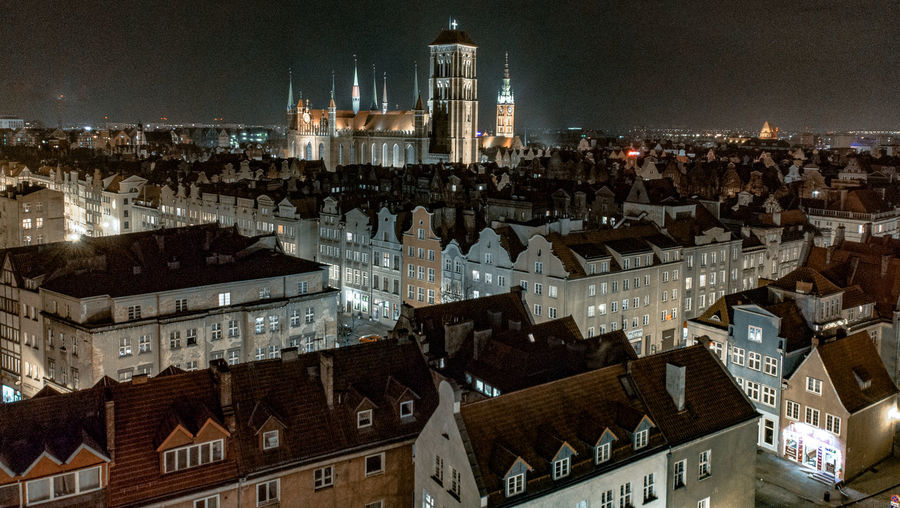 St. Marys Church in Gdansk Building Exterior Architecture Built Structure City Building Cityscape High Angle View Night Tower Travel Destinations City Life Illuminated Sky Residential District Cathedral ST.MARYS CHURCH St. Marys Church In Gdansk Church Poland City Lights At Night Gdansk Gdansk Old Town City At Night TOWNSCAPE City