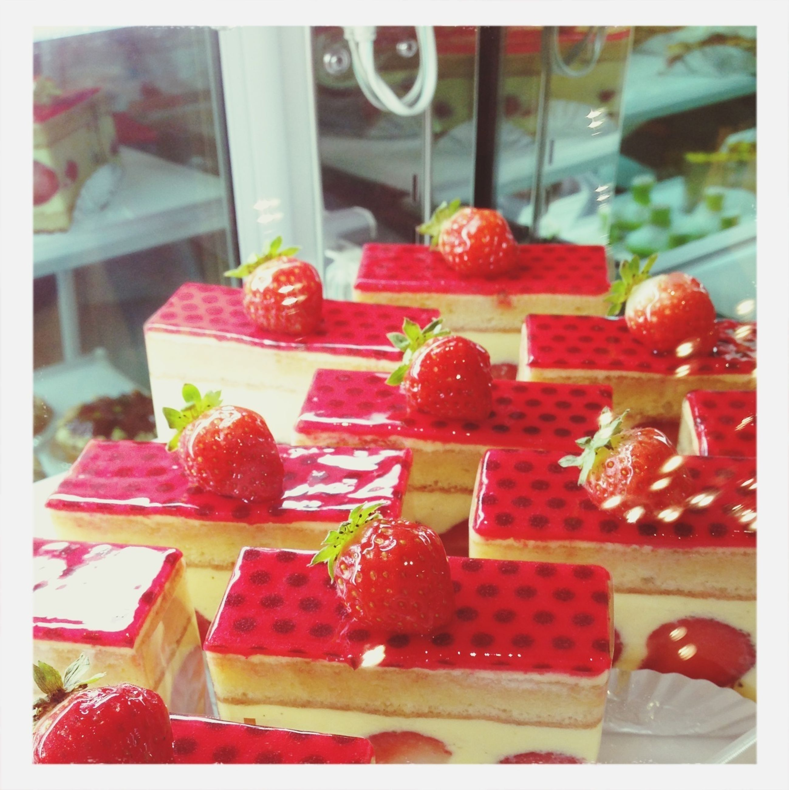 food and drink, freshness, transfer print, food, indoors, red, fruit, strawberry, sweet food, auto post production filter, healthy eating, dessert, table, indulgence, close-up, still life, ready-to-eat, focus on foreground, cake