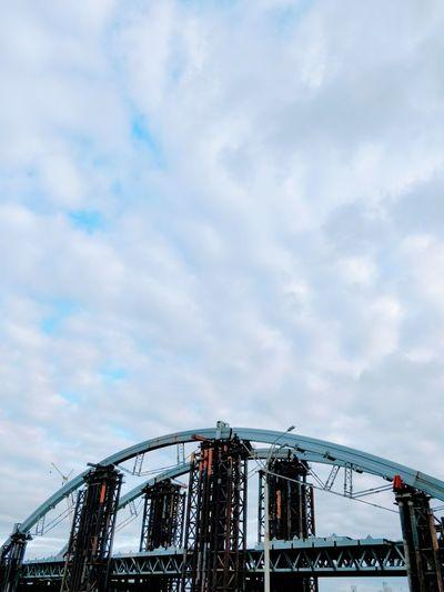 Bridge Bridge - Man Made Structure Sky Cloud - Sky Outdoors Day No People Under Construction Construction Metal Copy Space City Kiev Ukraine Travel Destinations Brutalism