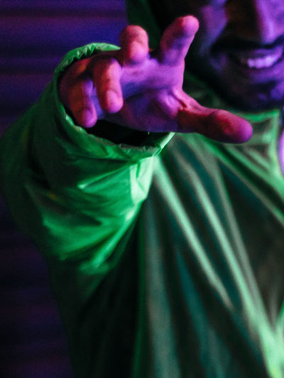 Nightphotography Close-up Freshness Green Color Men Neon Night One Person Purple