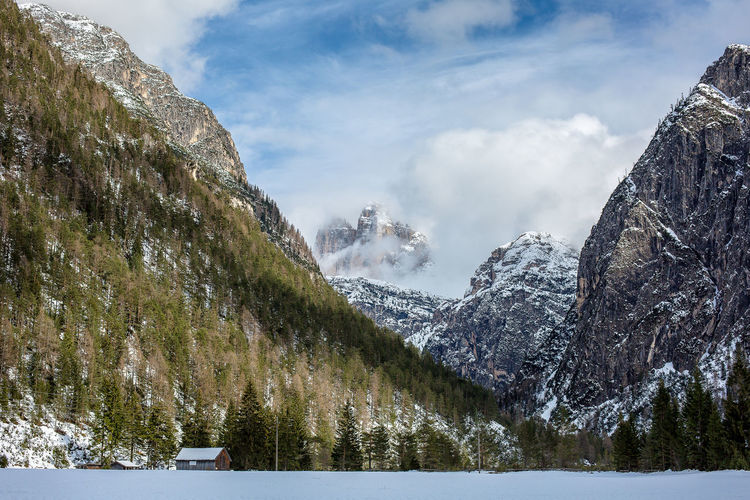 Panoramic view of snowcapped mountains and lake against sky