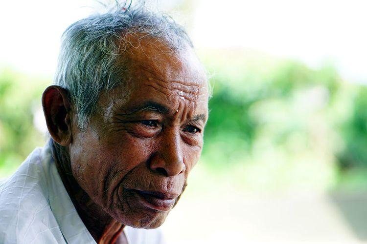 Close-up portrait of oldman