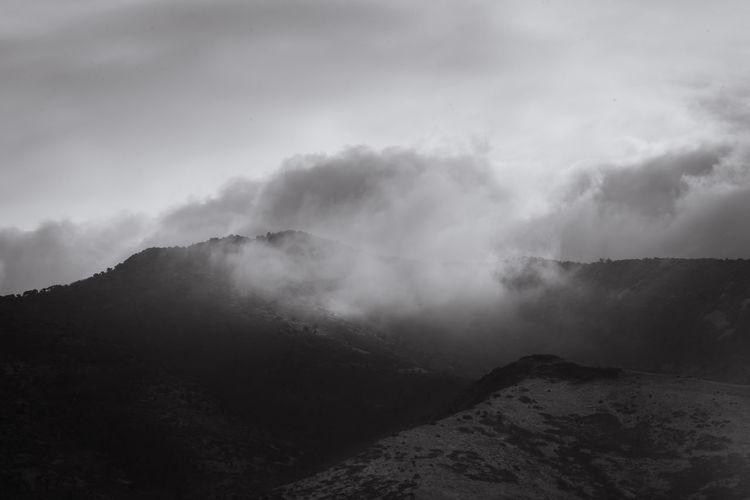 Heaven and earth Tooele County Utah UT Mountain Fog Sky Landscape Cloud - Sky Atmospheric Mood