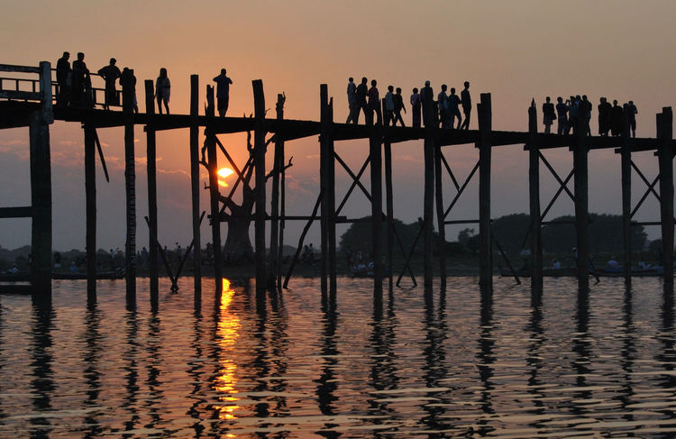 Bridge - Man Made Structure Burma Myanmar Pier Reflection Sunset Tranquil Scene Travel Destinations U Bein Bridge Ubeinbridge Water