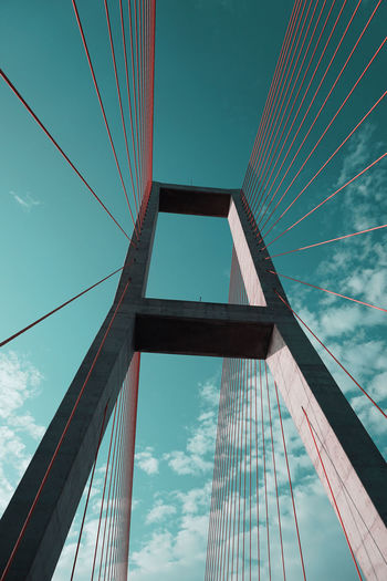 suramadu bridge Built Structure Architecture Low Angle View Sky Building Exterior Cloud - Sky Bridge Tall - High Nature Bridge - Man Made Structure Cable Connection City Modern No People Building Day Office Building Exterior Office Tower Skyscraper Outdoors Directly Below