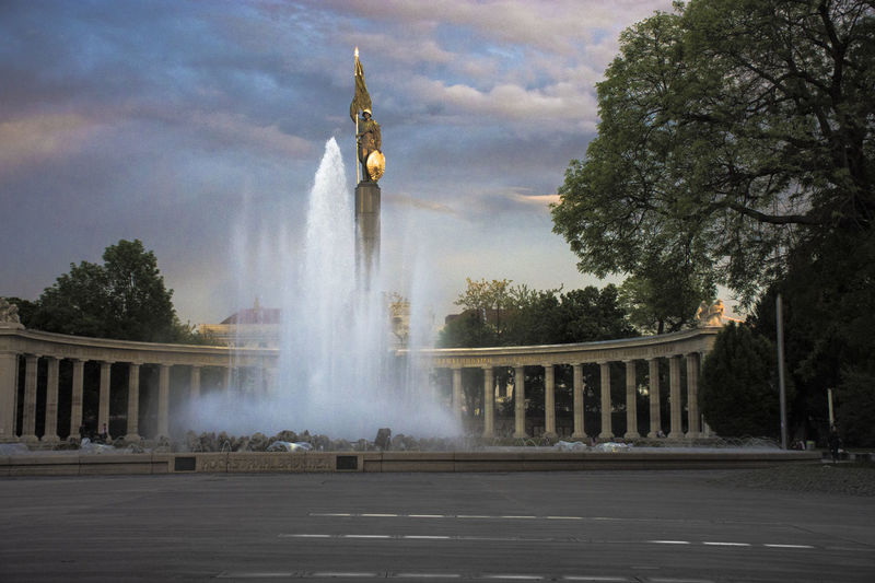 EyeEmNewHere Heumarkt  Russia Vienna Architectural Column Architecture Built Structure City Cloud - Sky Day Fountain Incidental People Monument Motion Outdoors Plant Power In Nature Sky Spraying Tourism Travel Travel Destinations Tree Water Wien
