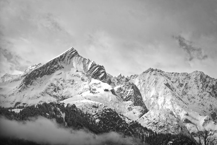 Mountain range Mountain Sky Nature Mountains Berge Alpen Alps Bavaria Bayern Blackandwhite Black And White Monochrome Snow Winter Cold Temperature Snowcapped Mountain Mountain Peak Mountain Range Forest Trees Cloud - Sky Clouds Contrast Moody Sky Fine Art Photography