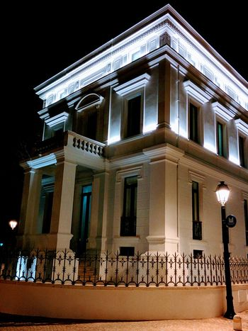 Architecture Building Exterior Low Angle View Architectural Column Built Structure Façade Illuminated Outdoors Night Sky Architecturephotography White Color Rebuild To Renew Rehabilitated Urban Architecture Urban Exploration Urbanphotography Building Feature No People City Architecture