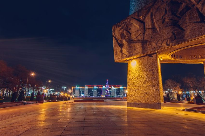 From My Point Of View By Ivan Maximov Eyeem Photo The Week On EyeEm Belarus City Vitebsk,Belarus Great Outdoors Traveling Christmas Lights Perspective Monument Night City Night Lights Night Illuminated City Architecture Travel Destinations History Outdoors Cityscape Arts Culture And Entertainment Modern Neon Nightlife Vacations No People Building Exterior Urban Skyline Sky