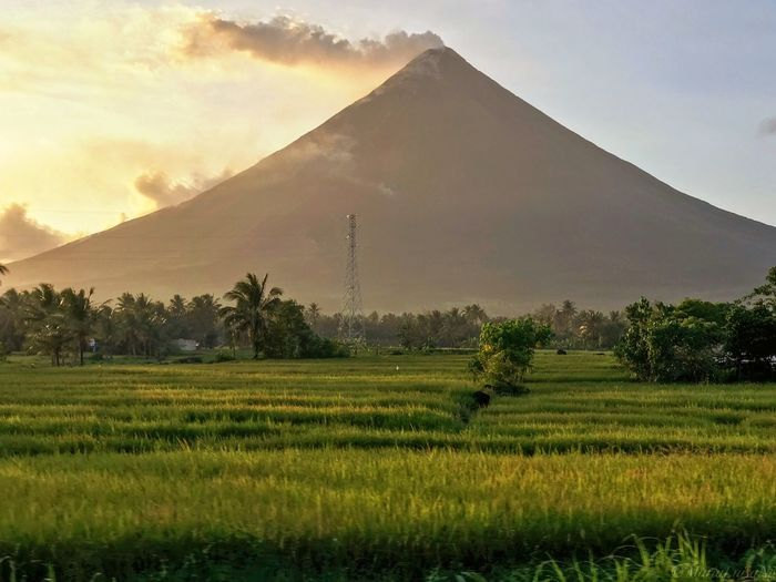 Mount Mayon Sky Scenics - Nature Mountain Beauty In Nature Sunset Tranquil Scene Rural Scene