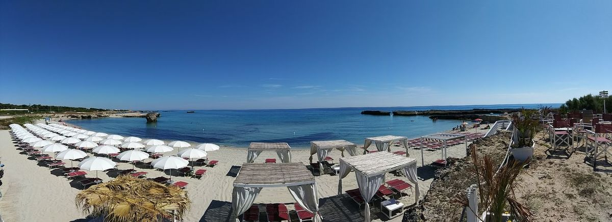 Sea Beach Horizon Over Water Water Outdoors Sky Day Clear Sky Blue No People Nature Beauty In Nature Salento Travel Photography Travel Destinations Salento Puglia Lecce Wave Landscape Melendugno Vacations Panoramic Photography Panoramic View Panoramic Landscape Sea Life